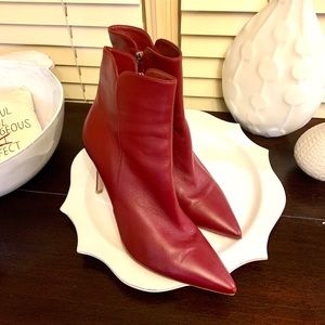 Gianvito Rossi blood red leather ankle boots